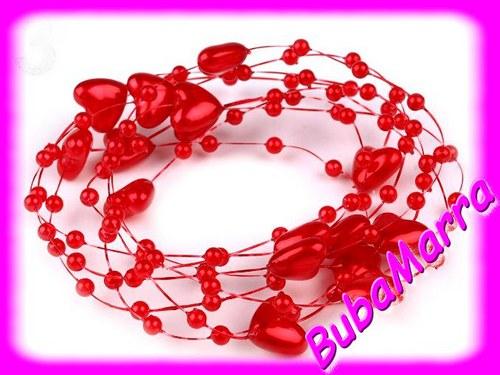 ~ Perličky na silonu~ svatební srdce Ø10 ~ červená