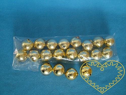 Zlaté skleněné perly ø 2,8 cm - 20 kusů