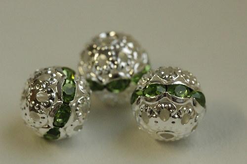 Šatonové kuličky 10mm - zelené - 3ks