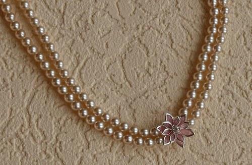 květina růžová - náhrdelník dvouřadý