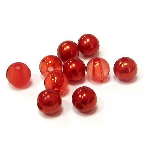 Směs perel a korálků - červená - 50 ks