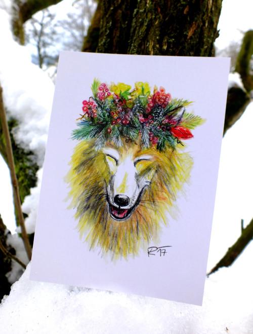 Vlček s věnečkem - pohlednice/přání