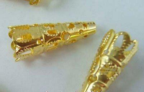 Kaplíky filigránové dlouhé zlaté 4ks!