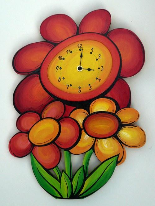 Dřevěné ručně malované hodiny - Kytky