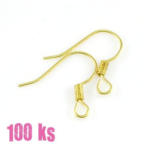 Zlaté afroháčky s pružinkou, 16mm, 100 ks