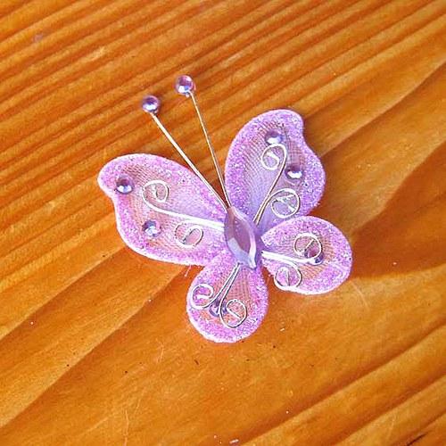 Organzový Motýlek - Fialový