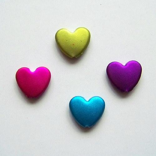 srdce matné pogum./ zelená / 16x18mm/ 4ks