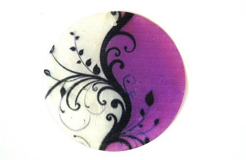 330 perleťové placky tenké- jin jang  fialový