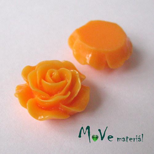 Kabošon růžička lesklá D3 - resin - 2ks, oranžová