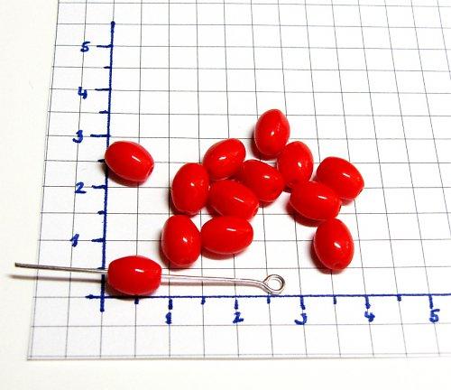 Červené korálky 8/6 mm, soudečky, 20 ks