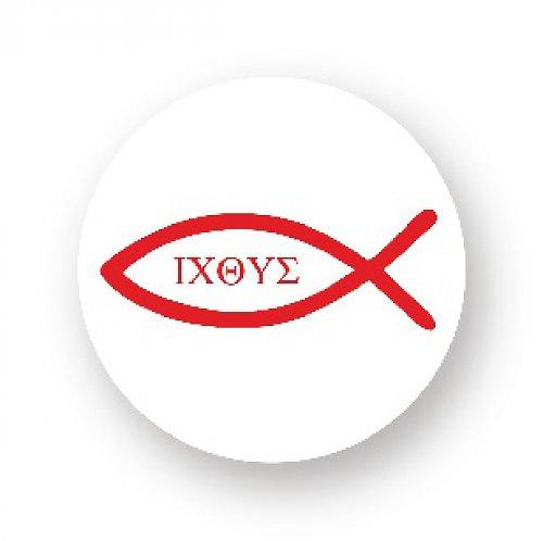 Placka s rybkou - ICHTHYS červená