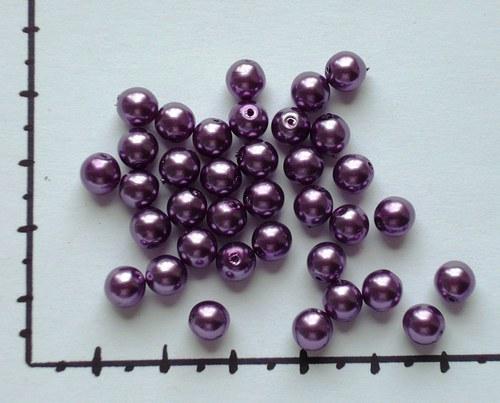 Perličky skleněné voskované fialová 6mm, 36ks