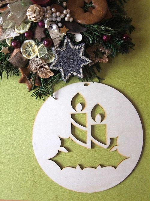 Vánoční dřevěné ozdoby - ZÁVĚS - SVÍČKY