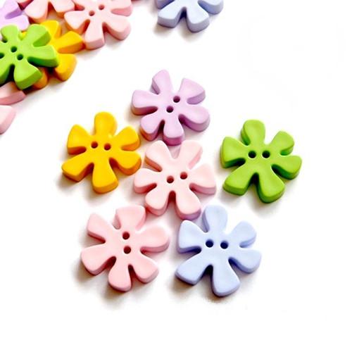 Plastové knoflíky květinky 25mm, MIX 3 kusy