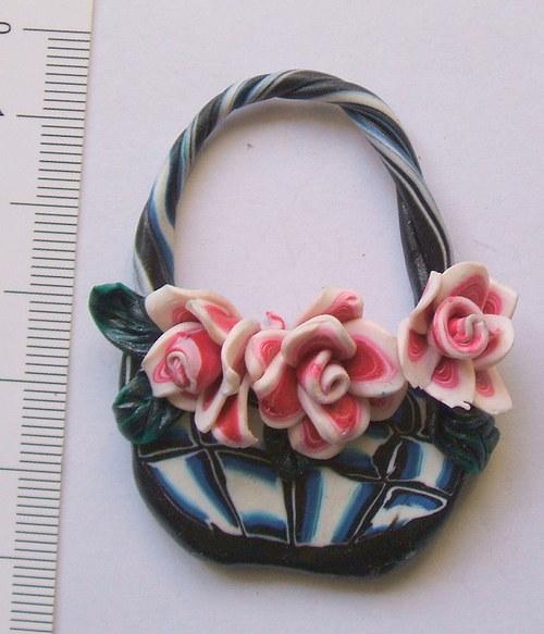 košíček 4 -s růžovými růžemi 4