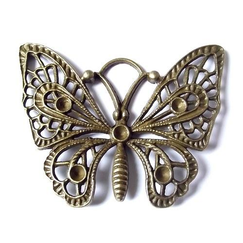 Staromosazný filigránový motýl - XXL - 48x37 mm