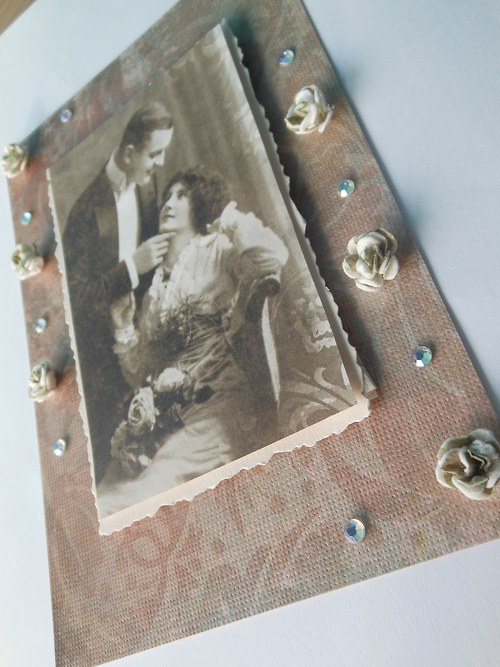 Scrapbookové přání s růžemi - kouzlo starých časů