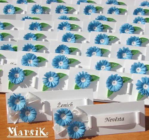 Květinové jmenovky na Vaši svatební tabuli