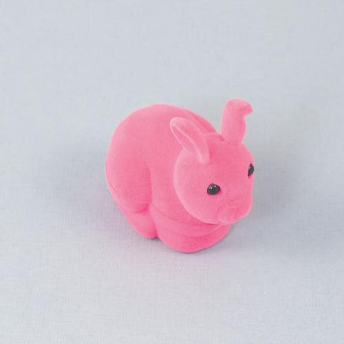 Sametová krabička na šperky - růžový zajíc