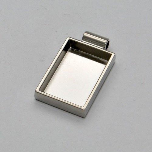 Kovový základ na přívěsek obdélník / stříbrný