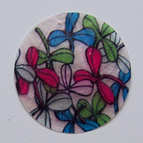 Perleťové malované kolečko tenké, 5 cm, Kvítí