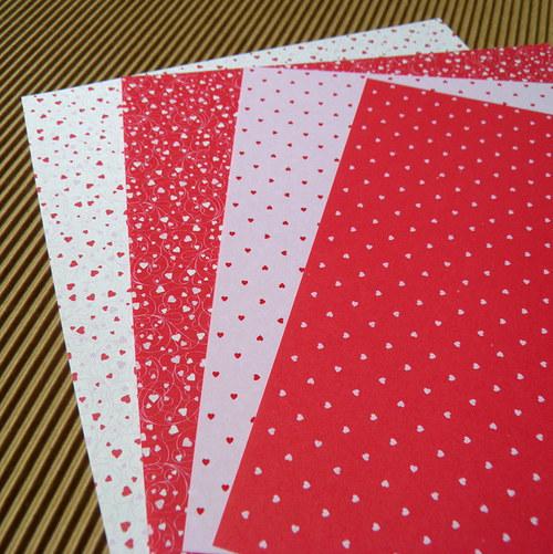 Origami papíry srdce červená