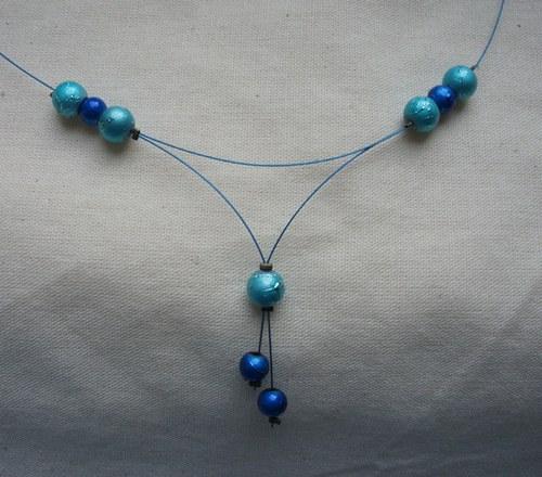 Modrý metalkový náhrdelník - SLEVA!!!