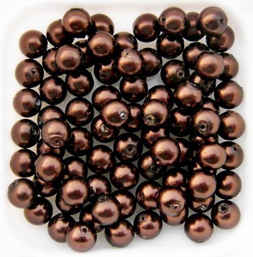 Voskované hnědé perličky 6mm (30ks)