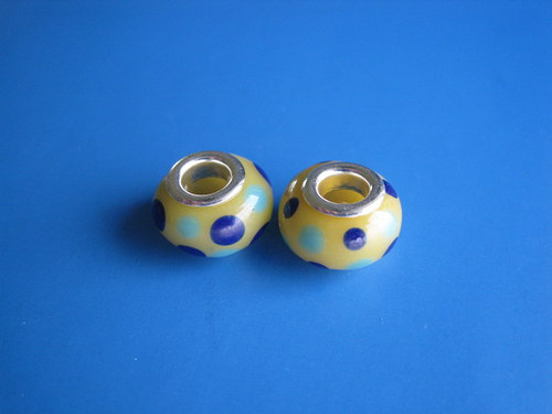 Korálky  2ks-žluta s puntiky