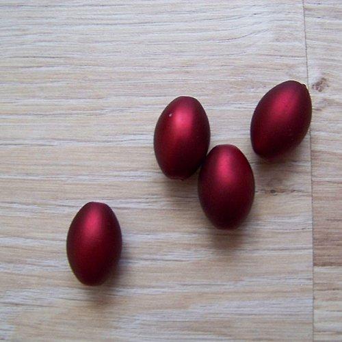 matný korálek olivka/  bordó/  13x20mm/ 4ks