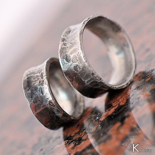 Kovaný nerezový snubní prsten - Rafael