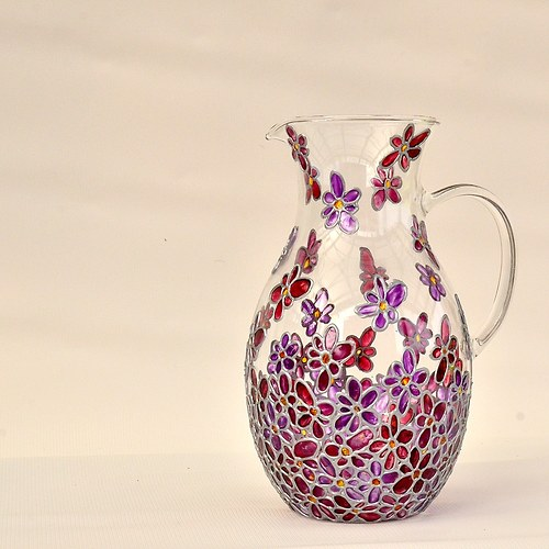 Skleněný džbán fialový (1,5l)