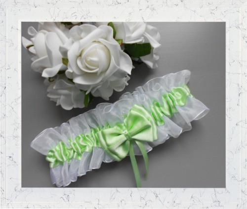 Zelenkavý podvazek s mašličkou - barva na přání