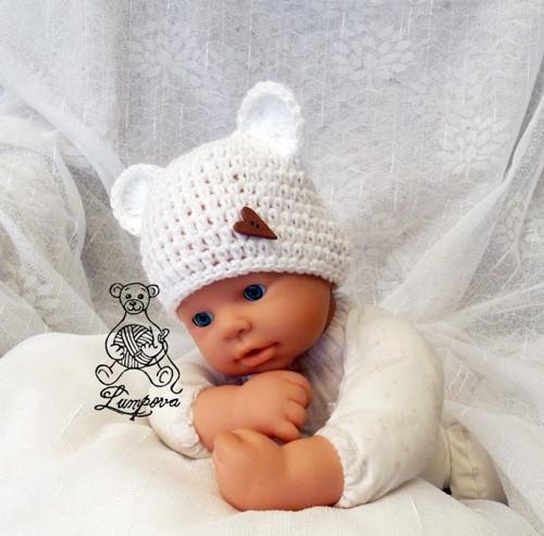 Medvídková čepička newborn