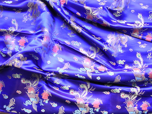 Nádherný modrý čínský brokát s draky
