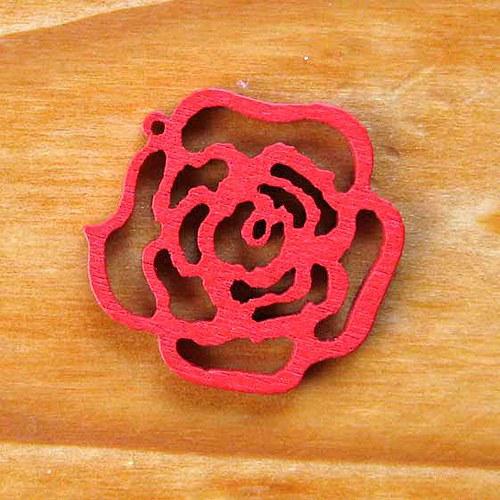 Dřevěná Růžička - Červená