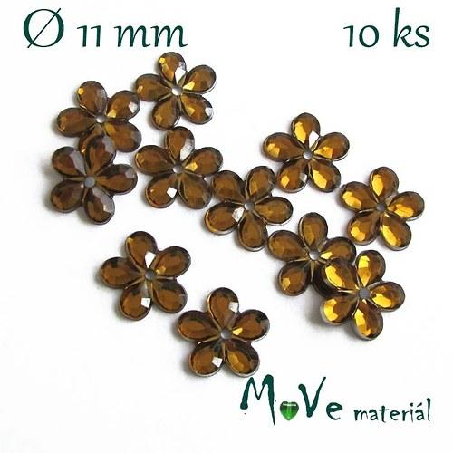 Květina plast Ø11mm našívací  10 ks okrová