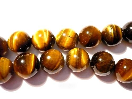 Vrtané kuličky 8 mm - tygří oko, 1 ks