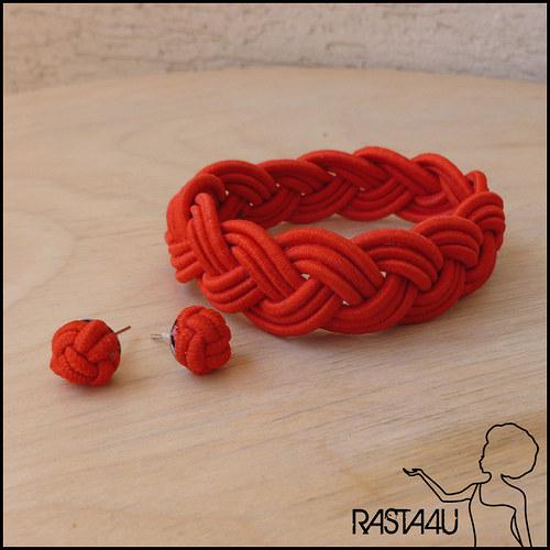 Námořnický náramek s peckami - červená