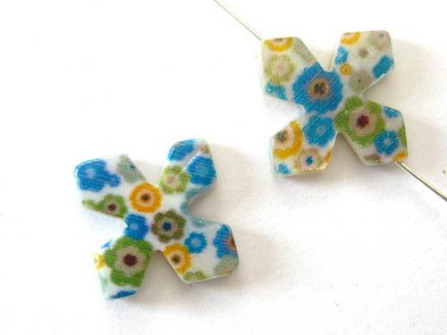 0705006/Perleťový čtyřlístek zeleno/modrý