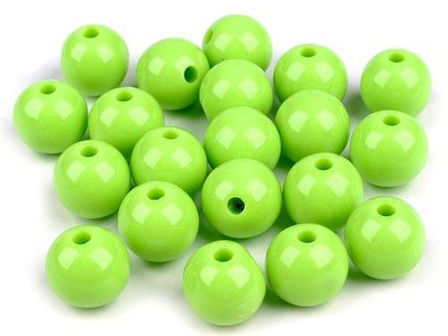 Plastové korálky 12mm kulička / zelená (10ks)