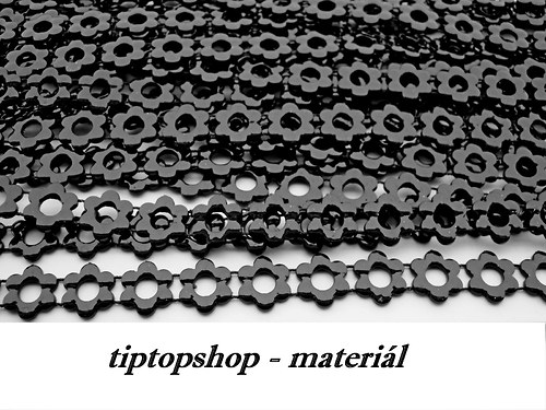Prýmek kytička, plastový , černý 10mm (1m)