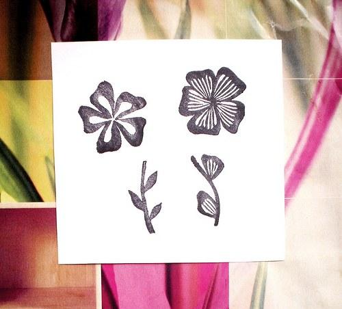 Květinky.. 4 ks. Omyvatelné razítko.