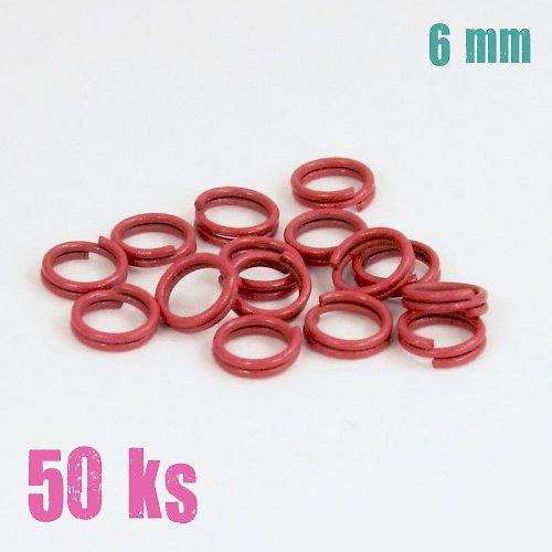 Tmavorůžové dvojité kroužky 6 mm, 50 ks
