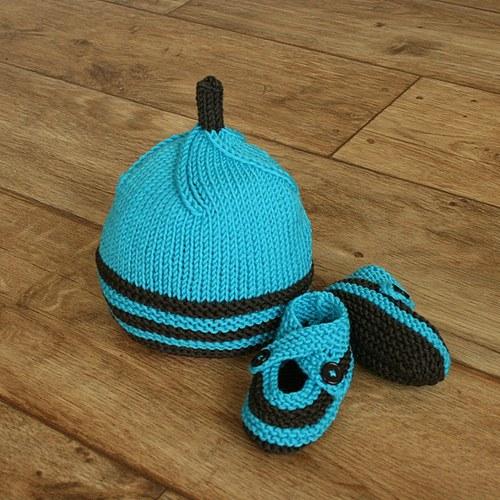 Pletený komplet pro miminko z MERINO vlny