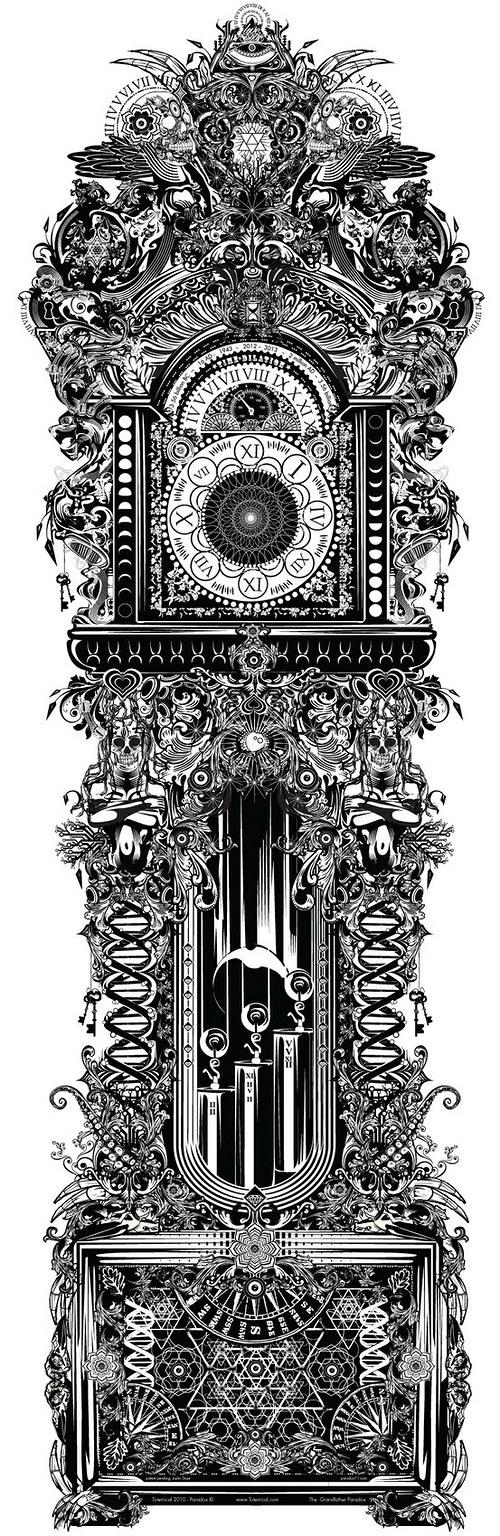 Vintage nažehlovací obrázek - hodiny