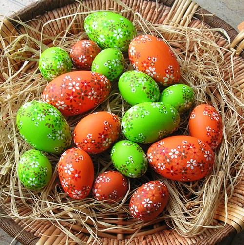 Kachní kraslice oranžové a zelené