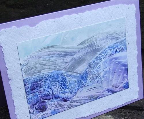 Enkaustické přáníčko - Zimní krajina