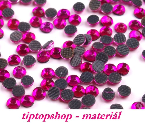 Šatonové růže HOT-FIX 4mm,  fuchsia (50ks)