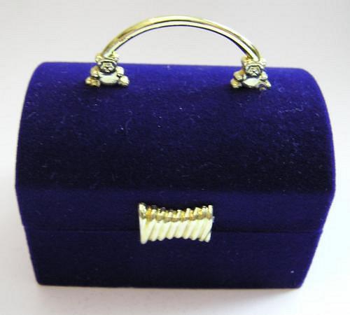 Sametová krabička na šperky - truhla modrá
